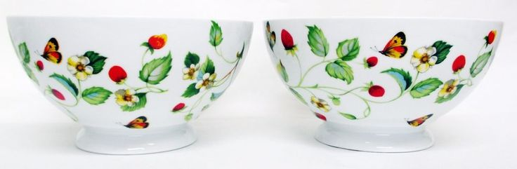 Strawberries & Butterflies Bowls Set of 2 Round Footed Porcelain Large Bowls UK #RainbowDecorsLtd #Country
