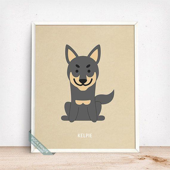 Kelpie Print Kelpie Poster Dog Print Dog Breed by VocaPrints