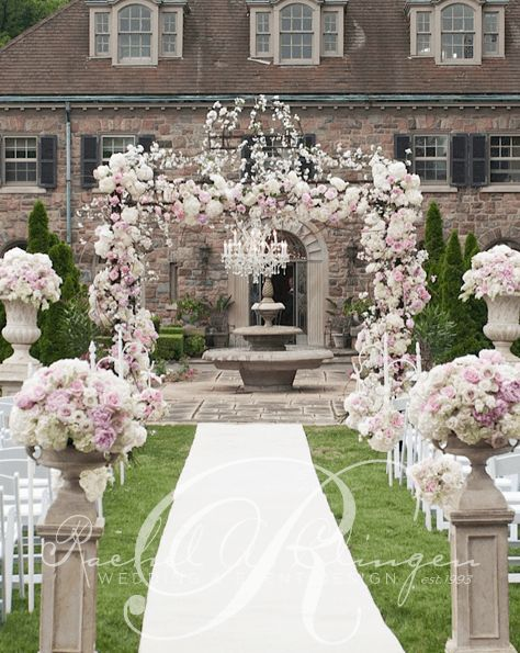Elegant backyard mansion wedding ceremony; Via Rachel A. Clingen Wedding & Event Design