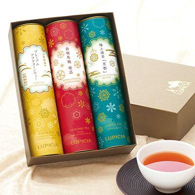 華やかなデザインの筒形金缶に入ったお茶3種のセット。期間限定の特別なセットです。お歳暮やお年賀、目上の方へのあらたまった贈りものにもぜひご利用ください。