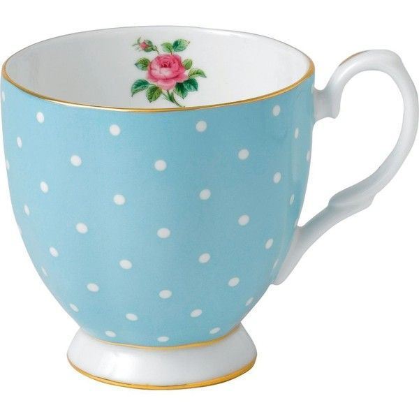 ROYAL ALBERT Polka Blue mug ($22) ❤ liked on Polyvore featuring home, kitchen & dining, drinkware, bone china tea mugs, tea cups, royal albert, polka dot cups and blue tea cups