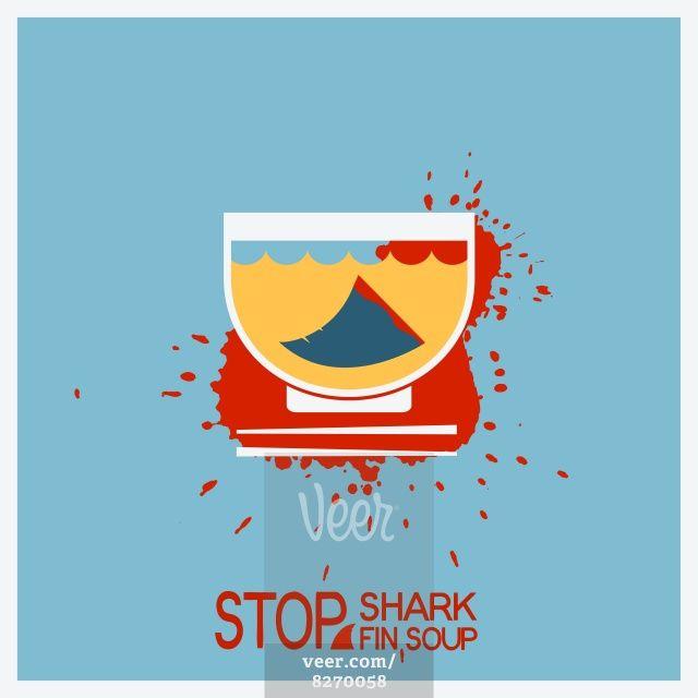 No blood shark finning soup.Vector poster illustration Stock Illustration