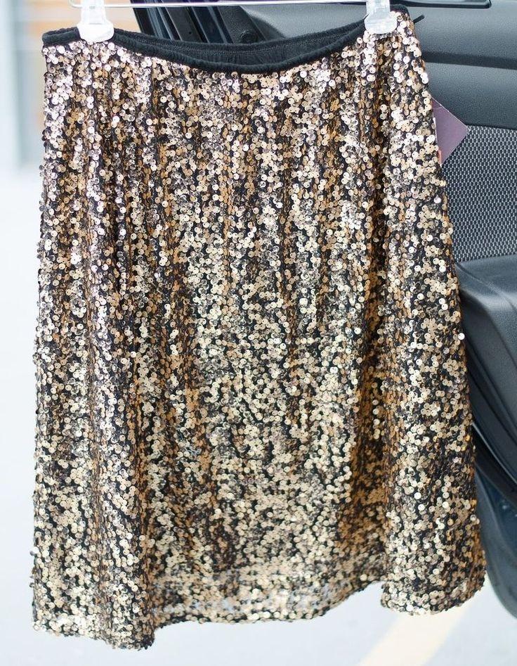 Ava and Viv Plus Size Gold Sparkle Sequin Elastic Dress Skirt 1X SRP $35 #AvaViv #ALine