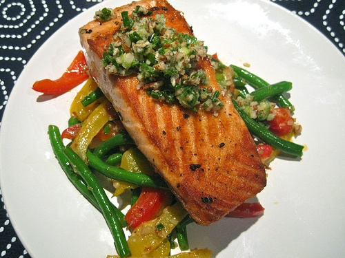 Salmon with Pepper and Beans and Almond Pistou