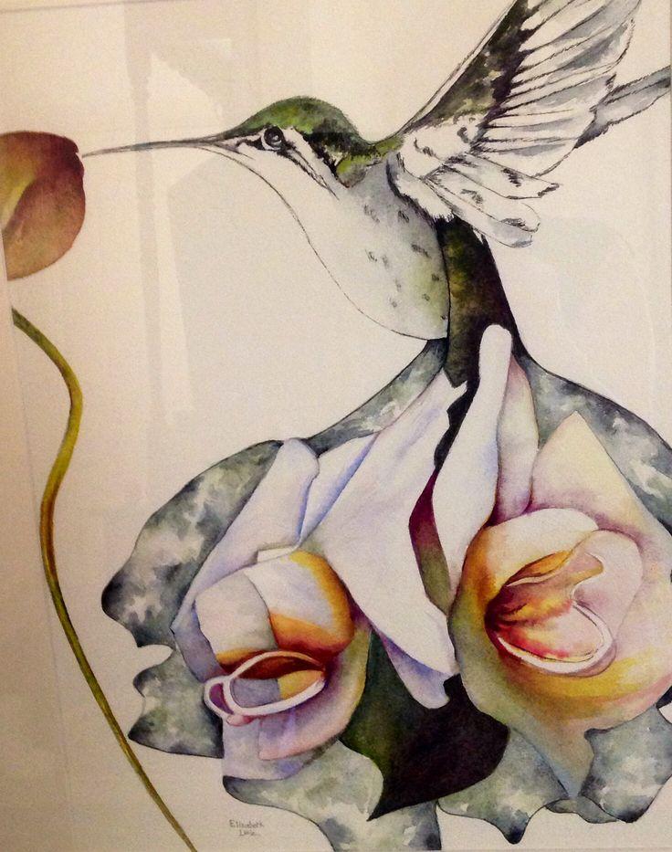 Flower Bird, Watercolour by Elizabeth Little