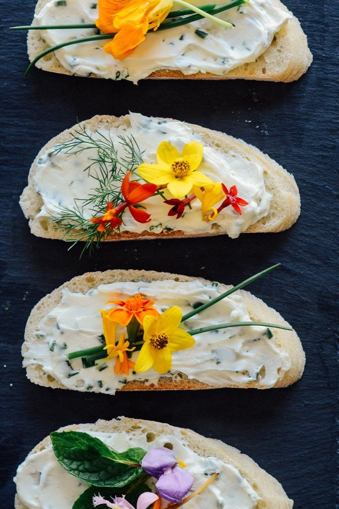 Cream Cheese Sandwiches with Flowers (no they are not fucking Vegan)