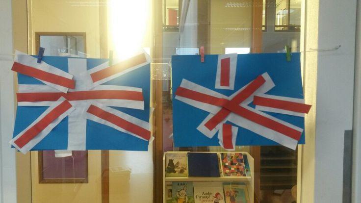 Engelse vlag. Brede en smalle stroken