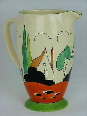 A V Rare Clarice Cliff Bizarre Tulips Pattern Jug. House, Flower & Tree Design