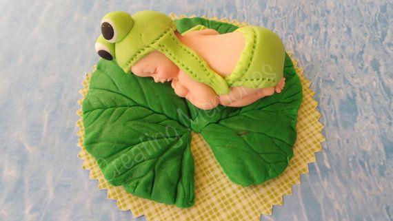 BABY FROG Edible Cake decorations for BABY boy or girl di anafeke