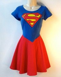 Wish   Superman Dress Supergirl Dress  Rockabilly Pin Up Girl Dress Superhero Halloween Costume