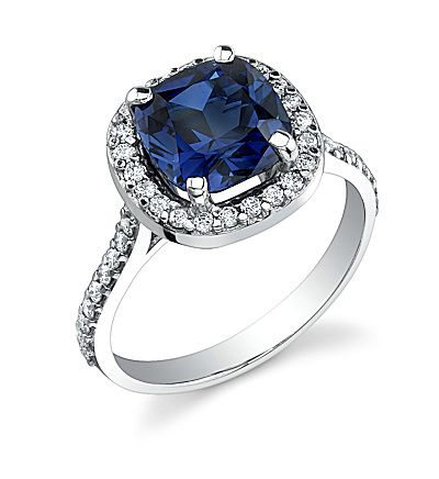 Can I see your nondiamond engagement ring and any sapphire ring advice welcomed! :  wedding blue diamond ering sapphire Halocushionsapphire