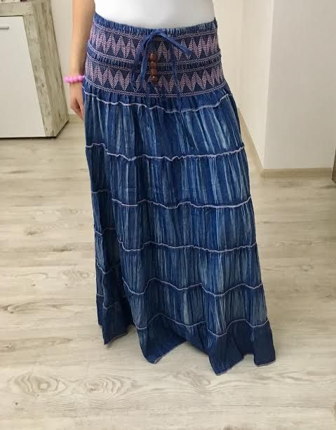 Maxi sukňa jeans ružová