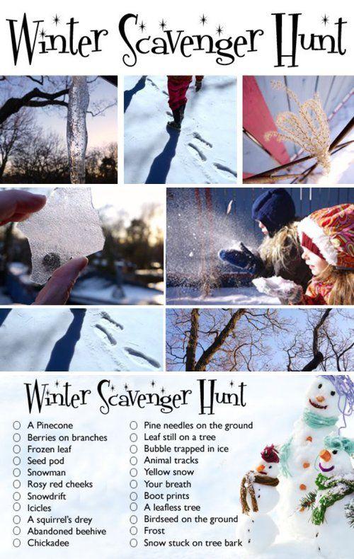 Winter Scavenger Hunt *Great list of ideas...