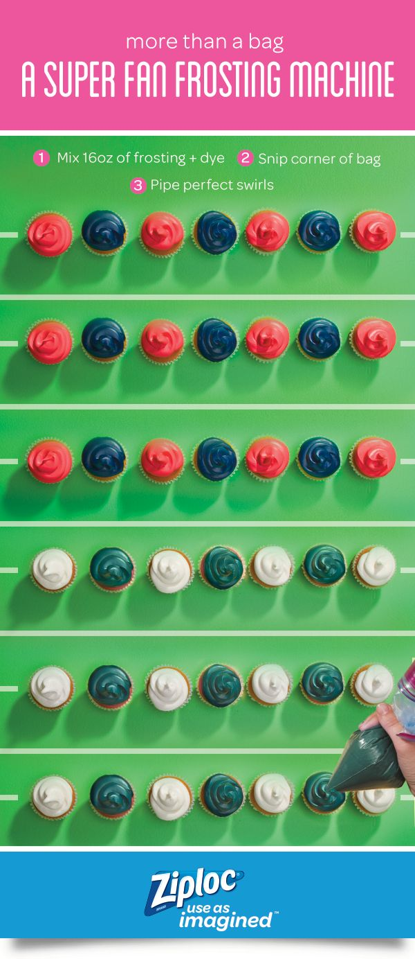 Bring perfect cupcakes to a tailgate, football viewing party or any game day event. Use our color guide to  nd the number of drops for the perfect shade. Mix 16 oz of vanilla frosting and food coloring in a Ziploc® storage bag with Easy Open Tabs. Pack bags of frosting and cupcakes separately, then off you go. Finally, snip the corner of the bag and decorate at your destination. Discover more team colors in our Ultimate Icing Color Guide.