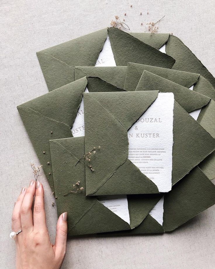 Matchy Matchy Letterpress Invite And Handmade Envelope: Letterpress Handmade Paper Greenery Wedding Invitations