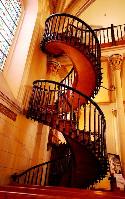 The Spiral Stairs Of Loretto Chapel In Santa Fe New
