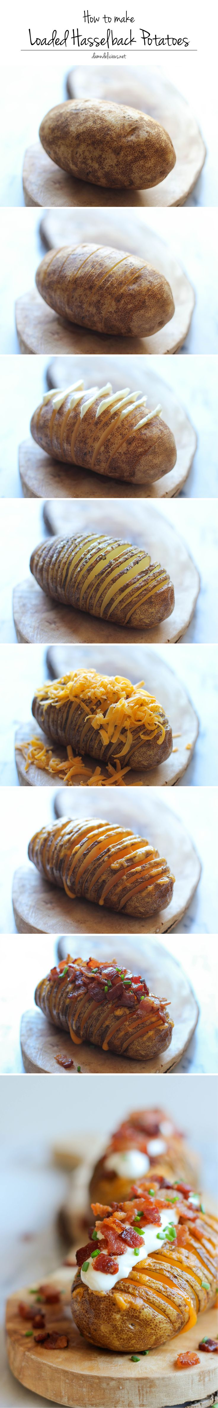 Loaded Hasselback Potatoes - A glorified baked potato loaded with melted cheddar cheese, sour cream, and crisp bacon bits!