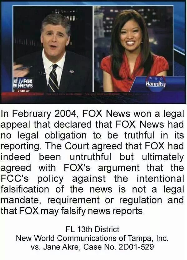 "I point this out to my friends & family who rely on Fox ""News"". They don't care."
