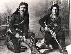 Pontian Greeks lived in northern Turkey along the Black Sea.  Near the end of WWI, suffering a similar fate of Armenians, Pontian Greeks began an armed resistance, leading to what became known as the Pontus resistance (αντάρτικο του Πόντου in Greek), which lasted until 1923, when most of the population were expelled from Turkey to Greece.