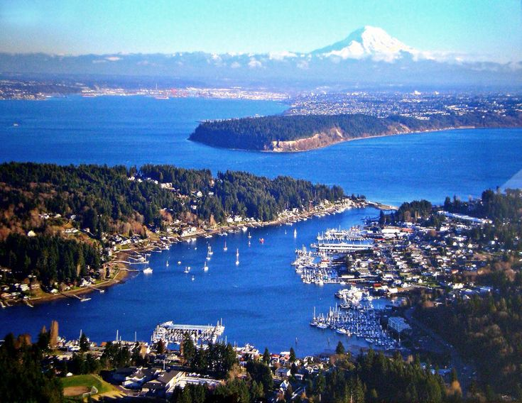Gig Harbor Washington.  The best views of Mt. Rainier are from here.