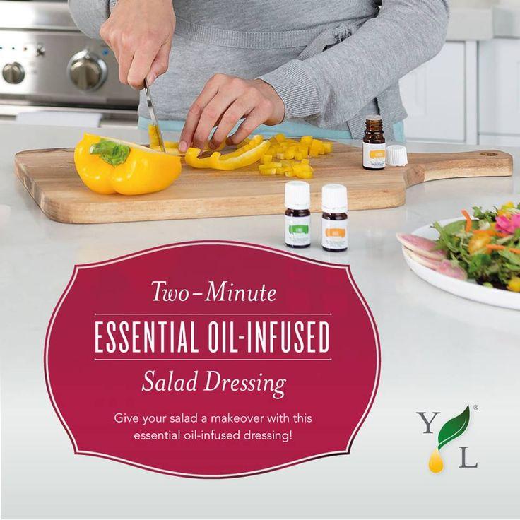 Simpele Vinaigrette  Ingrediënten: * 2 eetlepels appelcider azijn * 1 eetlepel Honing * 1/4 theelepel zout * 1/2 theelepel gemalen mosterd * 1 eetlepel geraspte ui * 2 druppels Lemon Plus essentiële olie * 4 eetlepels extra virgin olijfolie  Klop alle ingrediënten totdat ze goed gemengd zijn. Past erg goed bij een gemengde groene salade, kip, Young Living organisch gedroogde Wolfbessen, parmesaanse kaas en walnoten