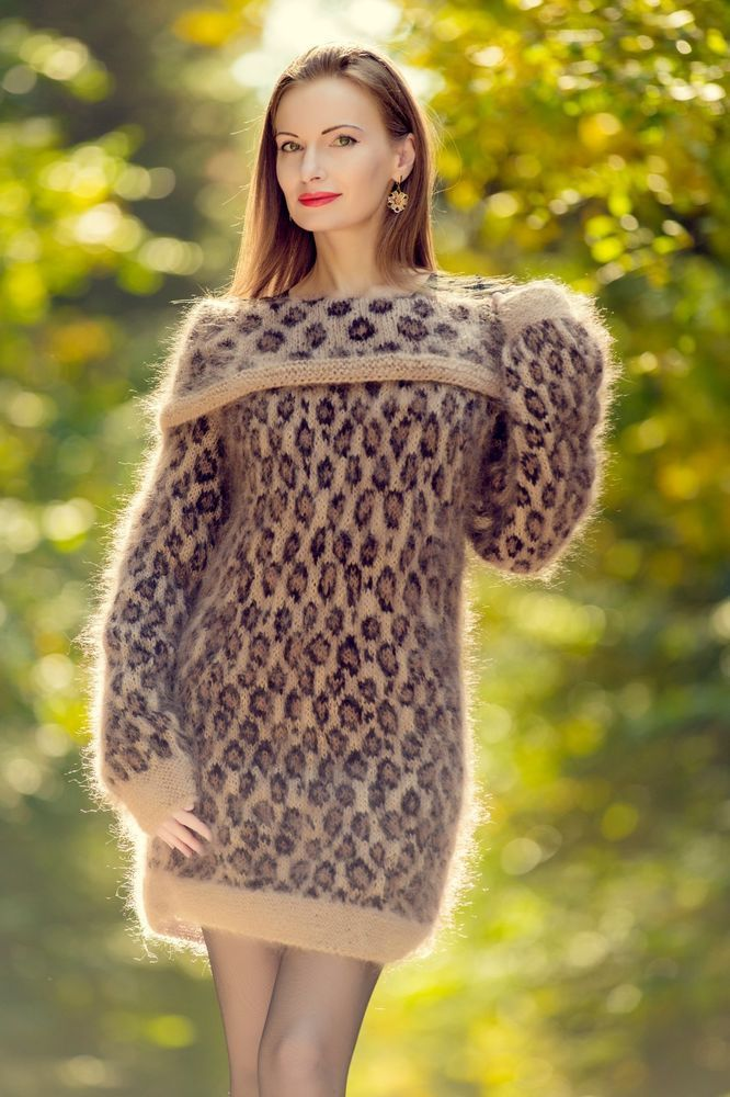 f4533f725a4 Leopard sweater dress fuzzy mohair hand knit cowlneck designer tunic  SuperTanya  SuperTanya  Sexy
