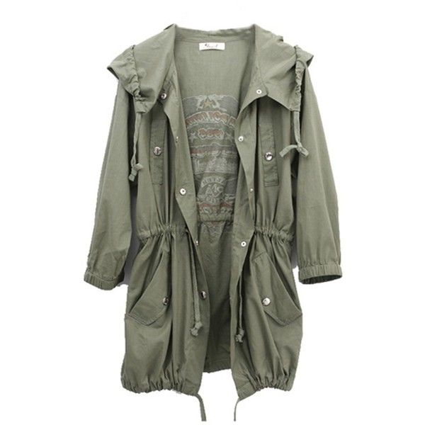 TM Fashion Womens Army Green Military Parka Button Trench Hooded Coat... (415 ZAR) ❤ liked on Polyvore