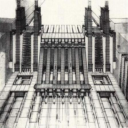 Antonio Sant'Elia, La Citta Nuova, 1914 | Gebouwen lopen in elkaar over, allemaal nieuwe technieken, maar nooit gebouwd