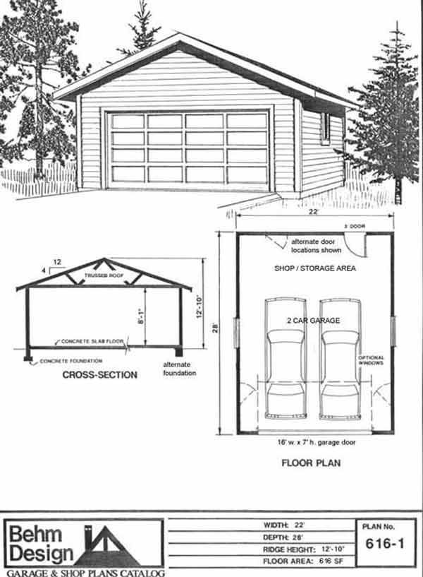 Two car garage plan 616 1 22 39 x 28 39 by behm design for Garage plans pdf
