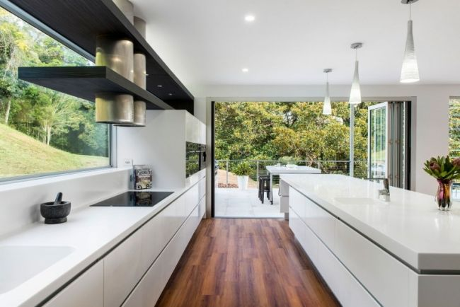 Designer Küche mit kochinsel weiß corian arbeitsplatten laminat