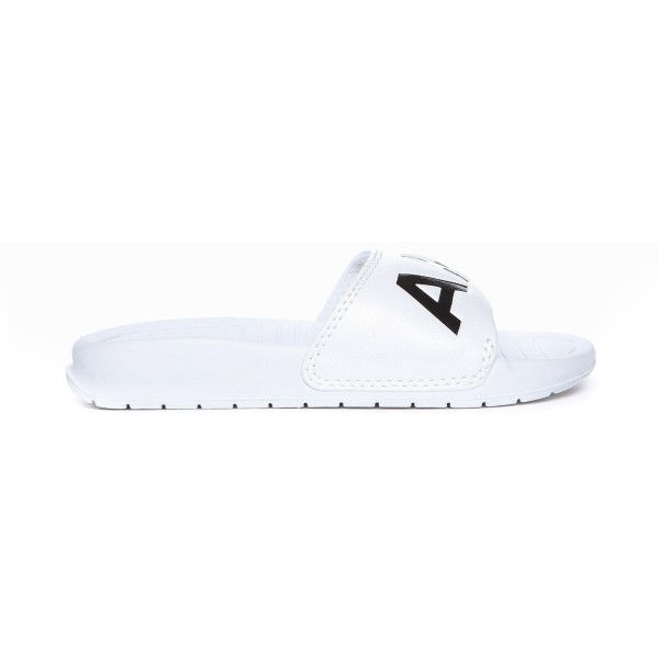 White Aston Sliders (385 MAD) ❤ liked on Polyvore featuring shoes, sandals, traction shoes, white shoes, cushioned shoes, white slip on shoes and slip-on shoes