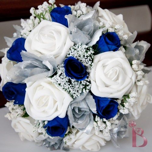 I like this one.  Disney blue and silver wedding colors bouquet.