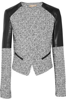 Michael Kors Leather-paneled tweed jacket | THE OUTNET