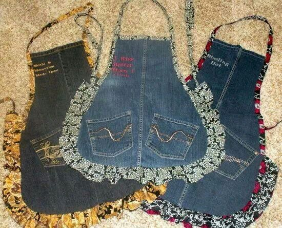 Fun aprons made from old jeans
