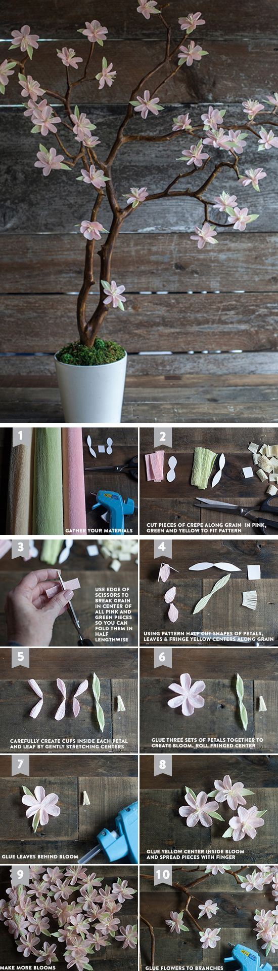 Crepe Paper Cherry Blossom Branches | Click Pic for 24 DIY Spring Wedding Ideas on a Budget | DIY Spring Wedding Decorations on a Budget