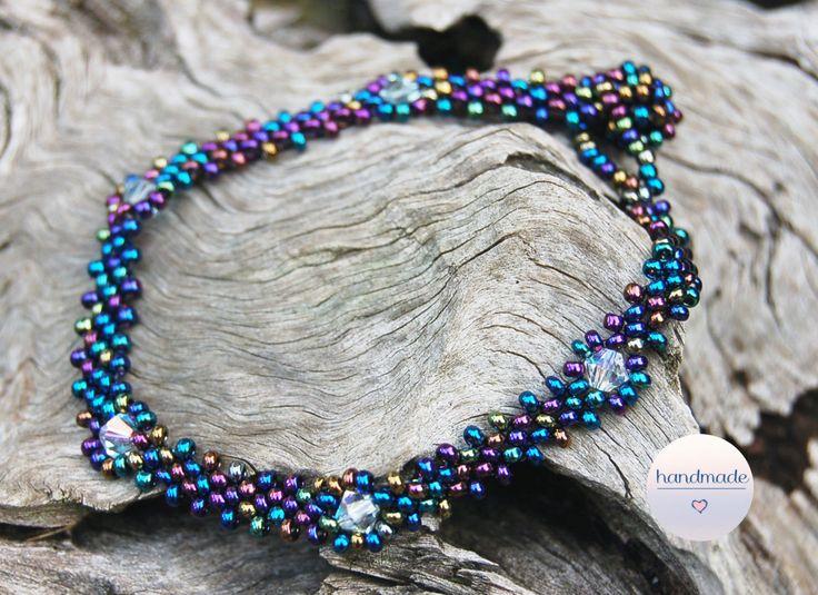 Blue beaded bracelet with crystals, seed beads, beadembroidery bracelet, bridesmaid bracelet, iris beads by BeadItUpJewels on Etsy
