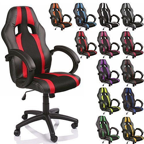 TRESKO® Chaise Fauteuil siège de bureau racing sport rayé ergonomique inclinable accoudoirs rembourrés, de 14 couleurs différentes, Lift…
