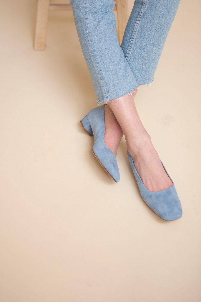 By Far Romy blue suede shoes. No wardrobe is complete without a pair of classic pumps. Hand crafted from soft italian suede, this Romy pair is finished with a chic block heel that's perfect for day-lo