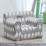 Here and There Personalized Kids Chair  - Gray Elephant