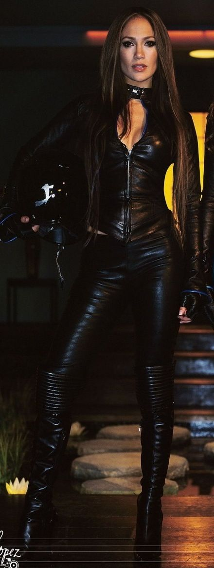 J Lo In all black leather look