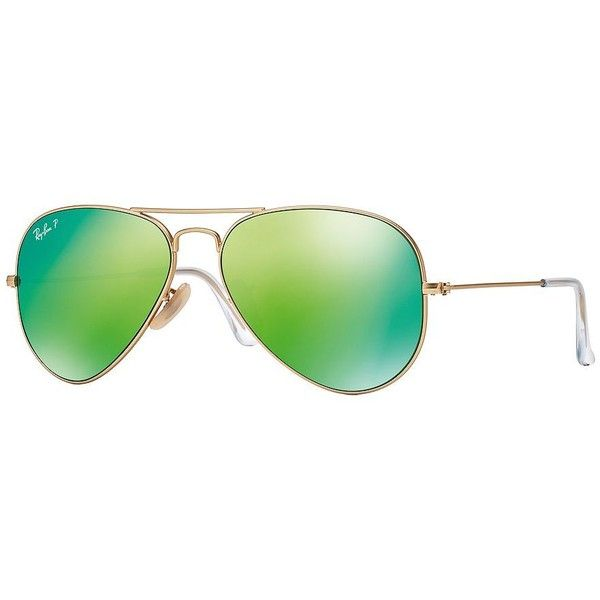 Ray-Ban Large Polar Flash Aviator 62MM Sunglasses (£130) ❤ liked on Polyvore featuring accessories, eyewear, sunglasses, glasses, green mirror, ray ban glasses, green glasses, green mirror sunglasses, green sunglasses and green mirrored aviators