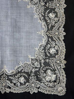 """""""Point de Gaze"""" lace, known as """"the queeen of laces"""", bordering a handkerchief."""