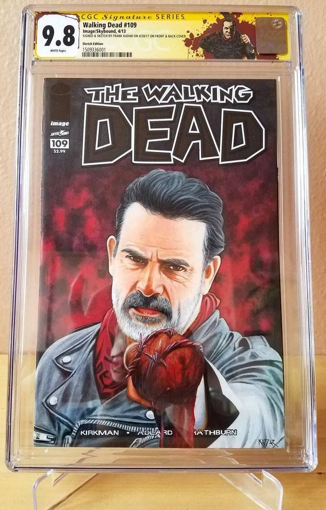 The Walking Dead #109 NEGAN CGC 9.8 painted sketch cover by Frank A. Kadar