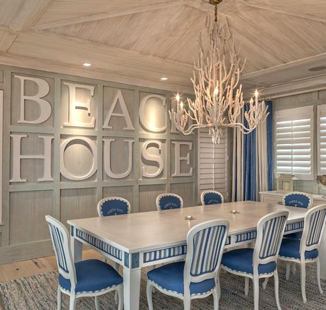 Bold Wall Designs in a Florida Beach House. Like the table for outside loks repainted. Like the idea of the wall letters.