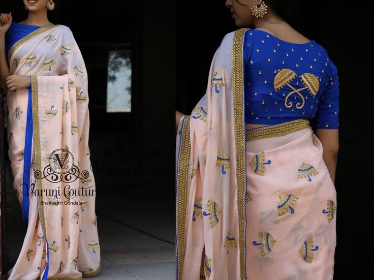 Blue Umbrella.chiffon saree with umbrella emboidery comes with an unstitched worked blouse as shown.Price 5225 Rs.To place an order whatsapp 9121017226.Email varunigopen@gmail.com  16 November 2017