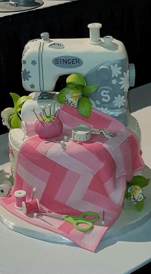 Sewing machine cake patchwork quilt sewing notions UK British fondant sugarpaste sugarcraft gumpaste pincushion