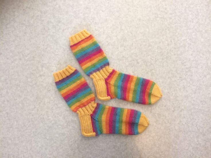 Rainbow wool socks for myself.<3