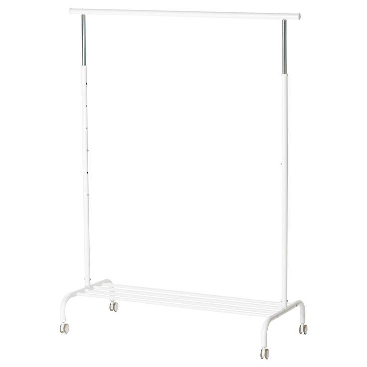 IKEA - RIGGA, Portant,  , , Vous pouvez facilement régler la hauteur du portant en fonction de vos besoins sur 6 niveaux différents.Tablette inférieure permettant de ranger des boîtes ou jusqu'à 4 paires de chaussures.