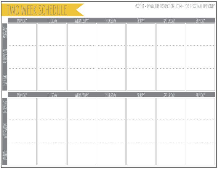 week schedule blank