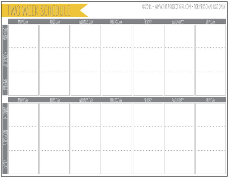 Printable two-week planner, perfect for helping with work-life balance ...